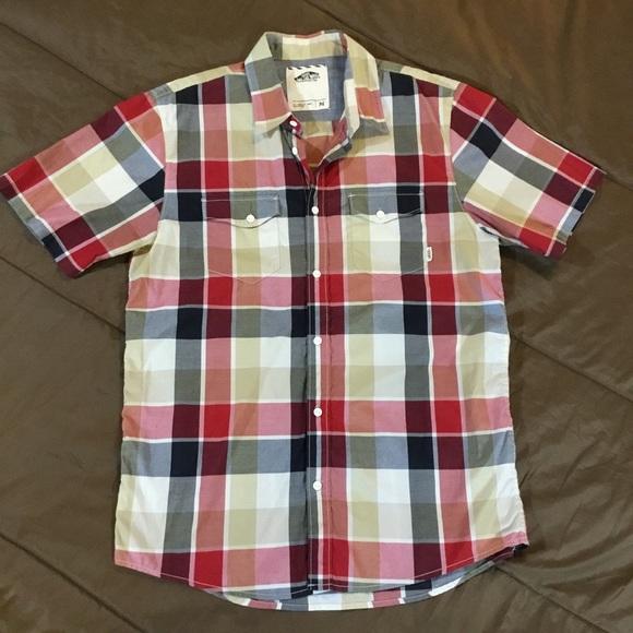 ba8a203d Men's Vans black & red plaid button short sleeve